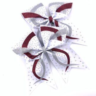 Cheerbow, Cheerschleife, Glitzer, Strass, weiss, bordeaux, silber, Logo, Team, Bows2Cheer4