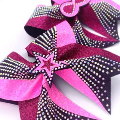 Cheerbow, Cheerschleife, pink, schwarz, Glitzer, Stern, Bows2Cheer4