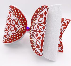 Dollybow rot mit Strass, Cheerbow, Cheerschleife, Bows2Cheer4