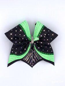 Cheerbow in schwarz-grün mit Glitzer