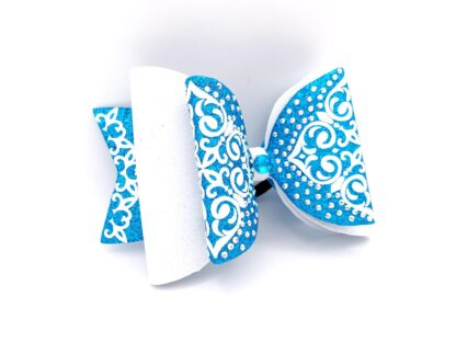 Cheerbow, Dollybow, Strass, blau, weiss, Bows2Cheer4